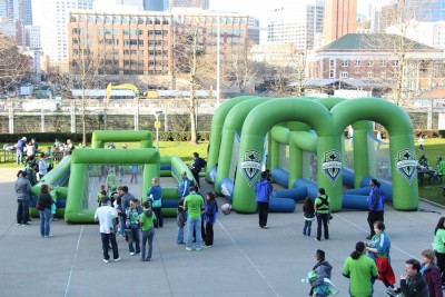 The Sounders have a lot of fun, family friendly activities for before the match. Get there a little early and let the kids play while you grab a drink or food with friends. (Photo by Justice Magraw)