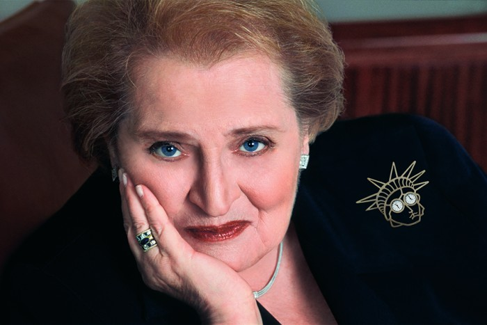 A collection of Madeleine Albright's pins are on display at the Bellevue Arts Museum through June 7.