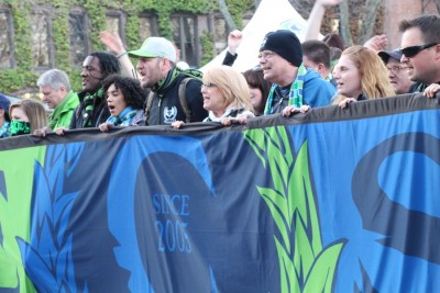 Emerald City Supporters lead the March to the Match from Pioneer Square to Century Link Field (Photo by Justice Magraw)