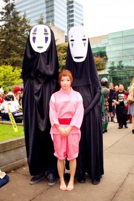 Sun and friends dressed up as Sen and No-Face from the animated film Spirited Away. (Photo courtesy of Martina Sun)