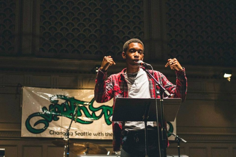 Darius Presley participates in the Youth Speaks Seattle Grand Slam Competition in April. (Photo by Travis Thompson.)