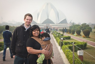 The author with her daughter and her husband in front of the Baha'i temple in New Delhi. (Courtesy photo)