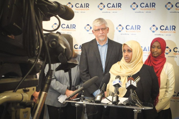 """At a press conference organized by CAIR-WA Ethiopian American Aisha Gobana spoke out about an incident in March when she says she was threatened by a man with a gun in a SeaTac gas station who said """"I don't trust Muslims, I trust my gun."""" (Photo courtesy CAIR-WA)"""