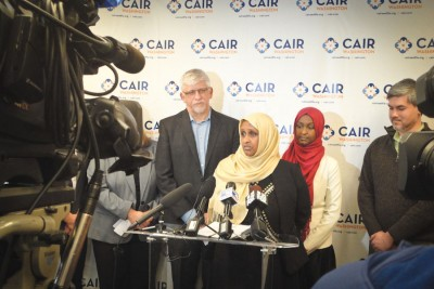 "At a press conference organized by CAIR-WA Ethiopian American Aisha Gobana spoke out about an incident in March when she says she was threatened by a man with a gun in a SeaTac gas station who said ""I don't trust Muslims, I trust my gun."" (Photo courtesy CAIR-WA)"