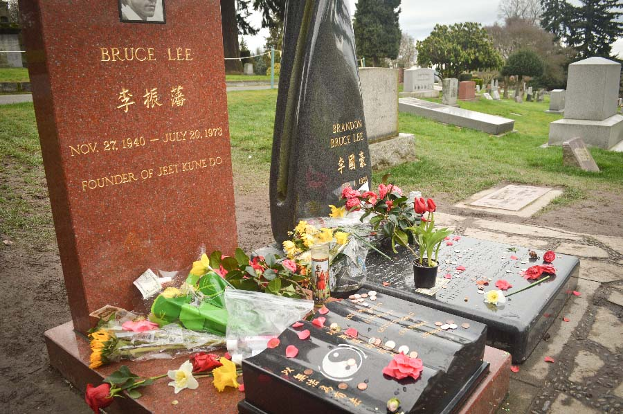 Bruce Lee is buried in Lake View Cemetery next to his son Brandon, who died in 1993. (Photo by Chetanya Robinson)