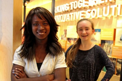 At the Bill and Melinda Gates Foundation, water activists Jenneh Corkern, left, 17, and Grace Clipson, 15. (Greg Gilbert/The Seattle Times)