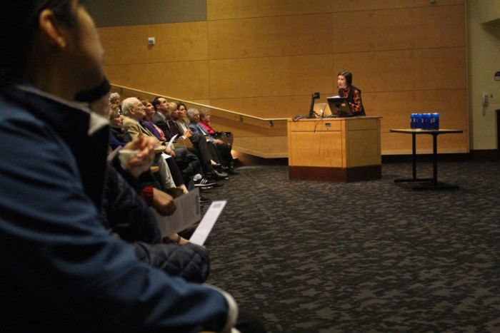 Grollmus speaks at a Holocaust remembrance event at UW in April. (Photo by Jennifer Karami)