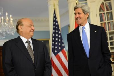 Yemeni president Abd Rabbuh Mansur Hadi and US Secretary of State John Kerry in 2013