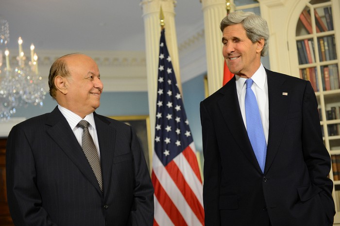 Yemeni president Abd Rabbuh Mansur Hadi with US Secretary of State John Kerry in 2013. The crisis in Yemen lead to Hadi's ouster, but a Saudi-led coalition wants to reinstate him. (Photo by US Dept. of State)