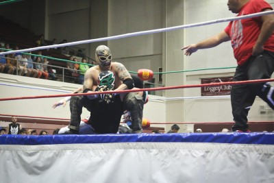 """Wrestlers from Lucha Libre Volcánica perform in Tacoma for """"Lucha de Sound."""" (Photo by Olivia Fuller)"""