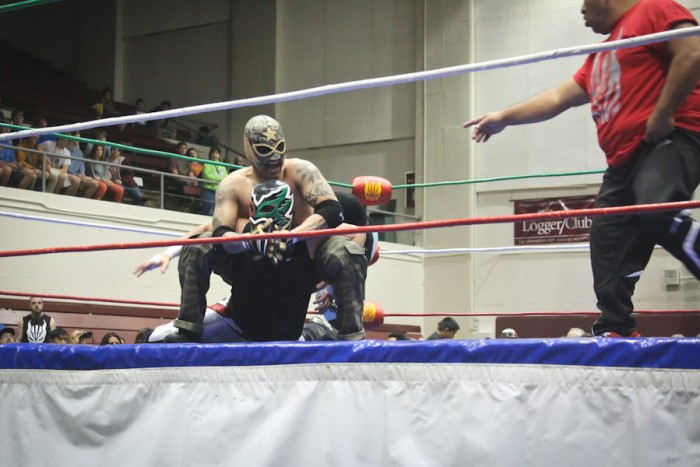 "Wrestlers from the Renton-based Lucha Libre Volcánica studio perform in Tacoma for ""Lucha de Sound."" (Photo by Olivia Fuller)"