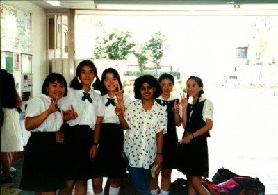 Sudeshna Sen, third from the right, in Nagano, Japan with her students on March 18, 1994. (Photo courtesy of Sudeshna Sen)