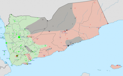 The military situation in Yemen as of April 17, 2015.
