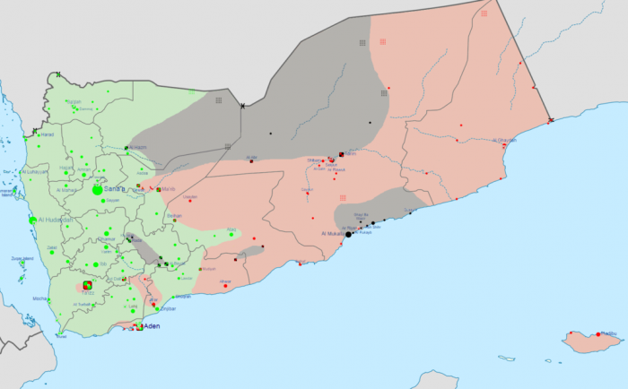 The crisis in Yemen as of April 17, 2015. Green represents territory controlled by Houthis and Saleh loyalists. Red represents territory Controlled by Hadi loyalists and the Southern Movement. Grey represents territory controlled by Al Qaeda in the Arabian Penninsula forces. (Photo courtesy of Wikipedia Commons)