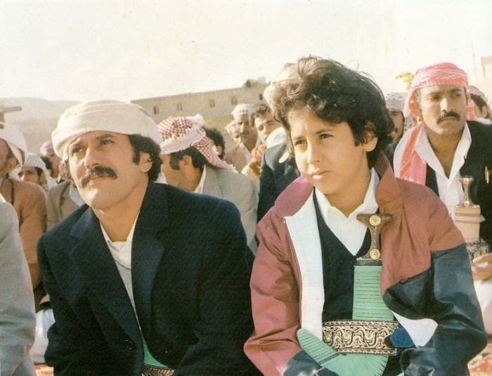 Young Ali Abdullah Saleh and his son Ahmed, 1984. Houthi rebels who kicked off the crisis in Yemen are allied with Saleh and may bring him back to power. (Photo from Wikipedia)