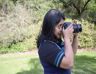 Sudeshna Sen takes photos in the Arboretum in Seattle, Wash. while doing site location research for an upcoming video project involving her son's school.