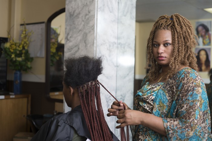 Salamata Sylla, owner of Sally's Africain Hair Braiding in Kent. (Photo by Daniel Berman, www.bermanphotos.com, for Institute for Justice.)