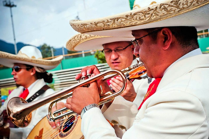 "A mariachi band performs at a Cinco de Mayo party (Photo from Flickr via <a href=""http://www.flickr.com/photos/28486074@N08/7117217047/"">U.S. Army Korea</a>)"