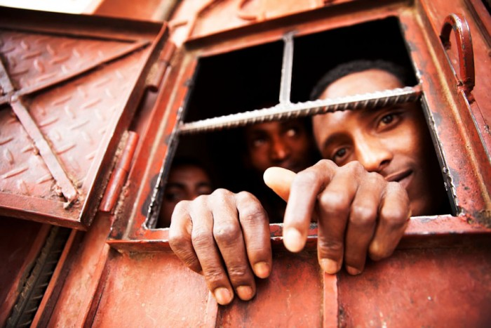 An overcrowded detention centre in Sana'a, Yemen holds Ethiopian migrants making their way to Saudi Arabia seeking work opportunities (Photo by Anna Surinyach/MSF)