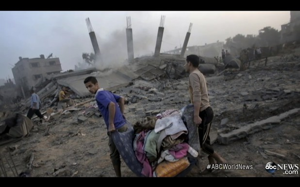 Devastation from Israeli airstrikes in Gaza was mistakenly presented by ABC World News as destruction in Israel in 2014.