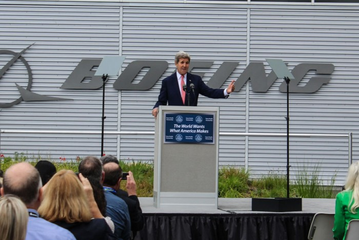 Secretary of State John Kerry addresses the crowd at Boeing's plant in Renton. (Photo by Venice Buhain.)