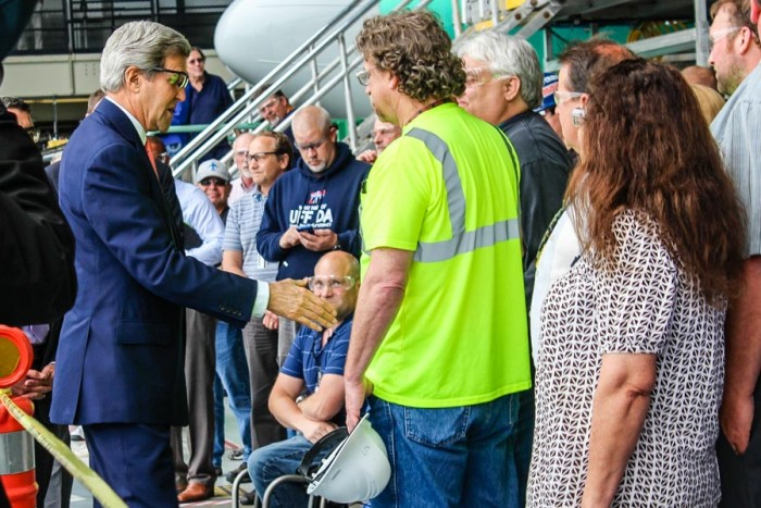 Secretary of State John Kerry greets workers at Boeing's Renton plant. He was at the plant to speak on the Trans-Pacific Partnership. (Photo by Venice Buhain.)