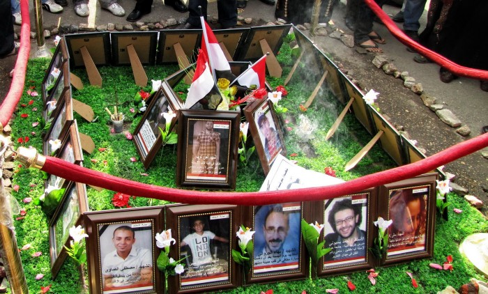 A memorial in Tahrir Square made by the demonstrators in honor of those who died during the Egyptian Revolution in 2011. (Photo via Wikipedia)