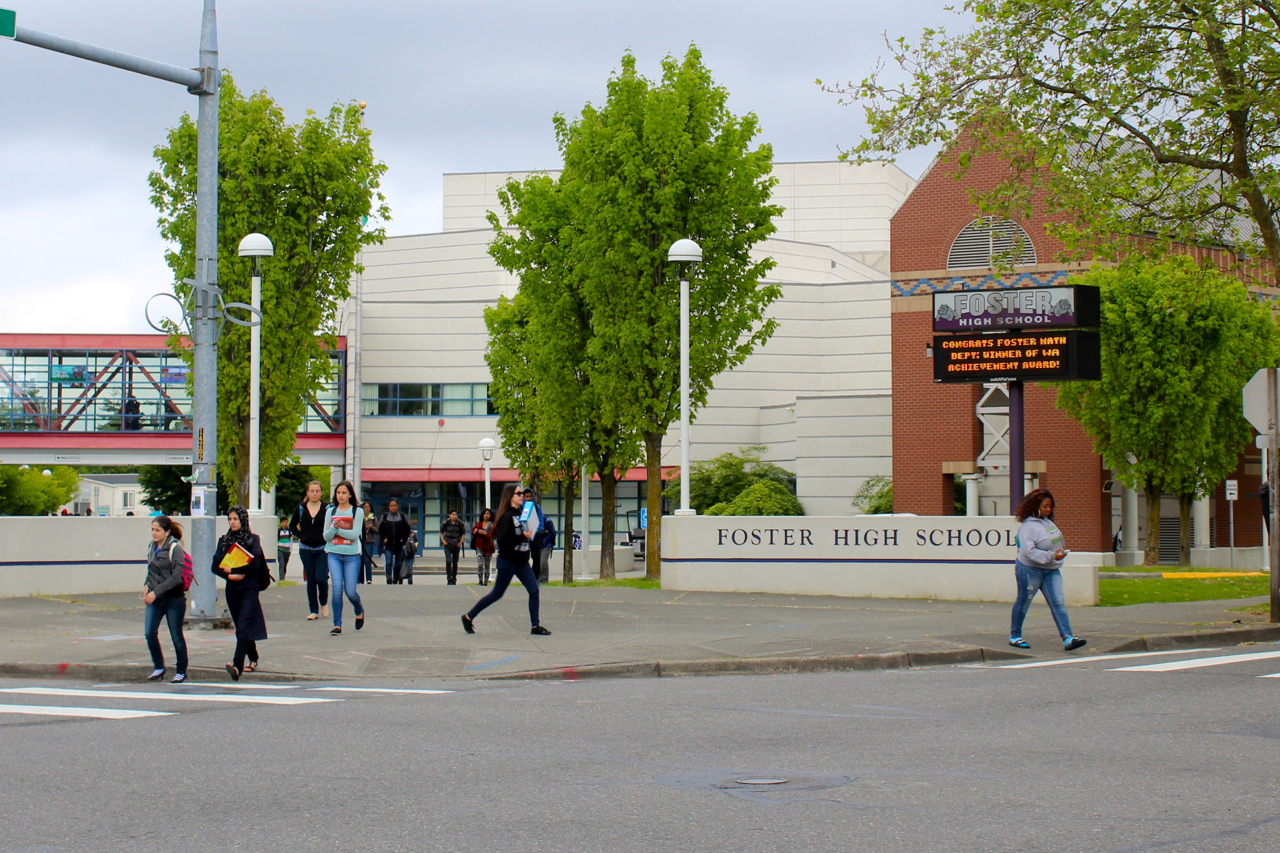 Students leave after school at Foster High School in the Tukwila School DIstrict. The district is one of the most diverse in the country. (Photo by Venice Buhain.)