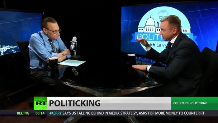 Talk show legend Larry King hosts the show PoliticKING on 'RT' (aka 'Russia Today') a cable TV network funded by the Russian government.