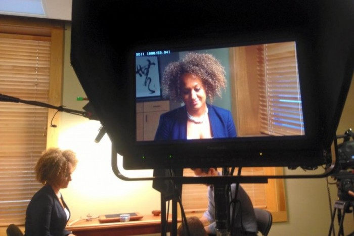 Rachel Dolezal interviewed by Al-Jazeera America on spokane police accountability. Photo by Spokane NAACP via Facebook.