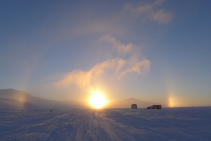 McMurdo station provides views of some of the longest (and most beautiful) sunrises and sunsets on Earth. (Photo by Nasko Abadjiev)