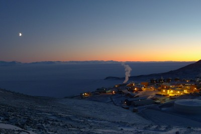 Overlooking McMurdo Station in Antarctica — where the sun never rises this time of year. (Photo by Nasko Abadjiev)