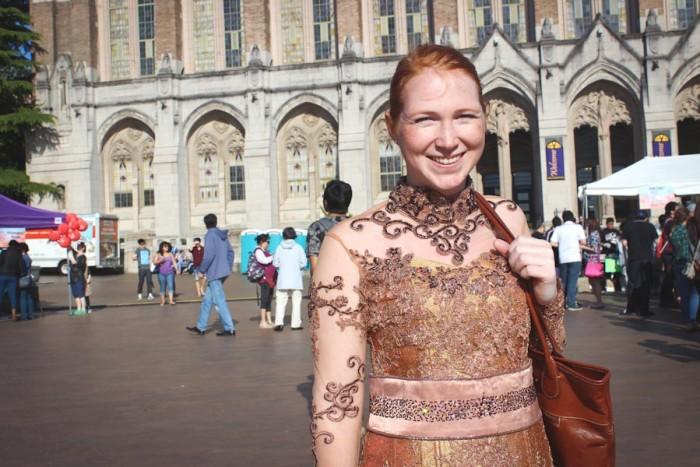 Natalie Rehberger, in her traiditional Javanese  kebaya at the UW's Indonesia Festival. (Photo by Alia Marsha)