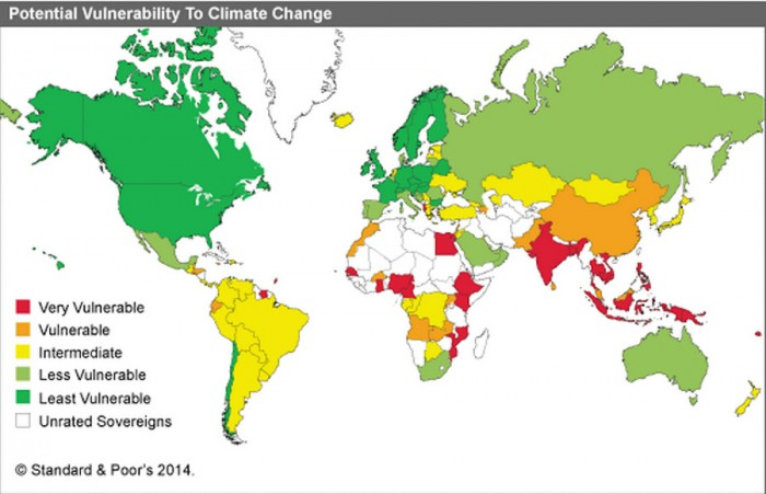 Poorer countries that have historically emitted the least carbon dioxide will be hit hardest by rising temperatures, because they lack the means to adapt. (Map by Standard & Poor's)