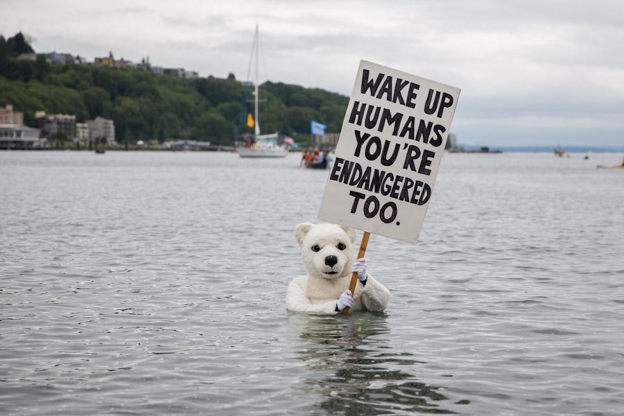 Seattle polar bear protestor.
