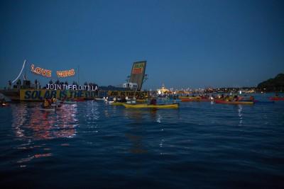 Luminary flotilla in Elliot Bay.