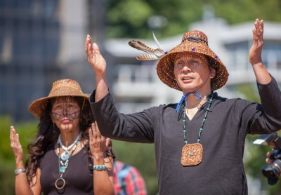 Sweetwater Nannauck (left) and Paul Cheoketen Wagner (right). (Photo by Alex Garland)