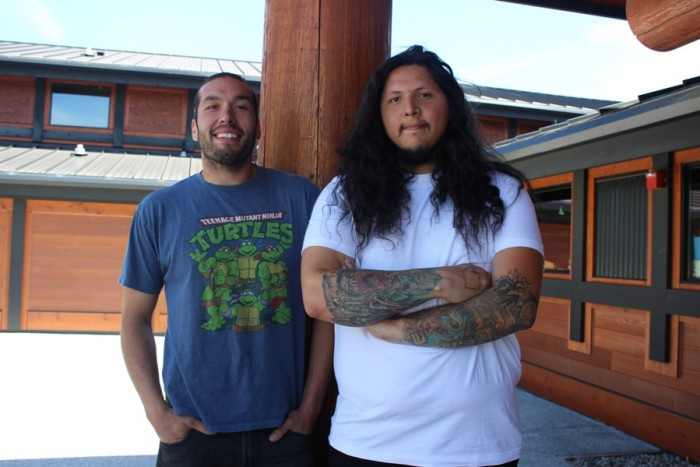 Left to right: Archie Cantrell and Chris Duenas, who teach the Lushootseed language. (Photo by Aisha Nazim.)