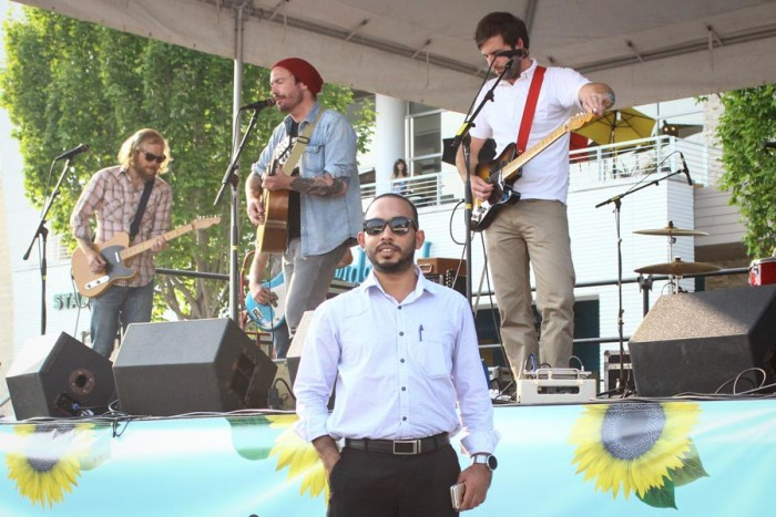 Maldivian journalist Ibrahim Waheed caught the Seattle band named after his country at their show in University Village last month. (Photo by Saroj Karki)