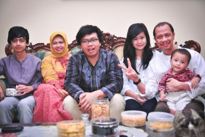 "Alia Marsha (third from right) and her family celebrating Eid al-Fitr in Indonesia in 2011. ""Every year, the younger siblings of the family would make visits to the older ones. Since my father is the youngest of 8 siblings, we would go to so many houses which was a curse because traffic but a blessing because food!"" (Courtesy photo)"