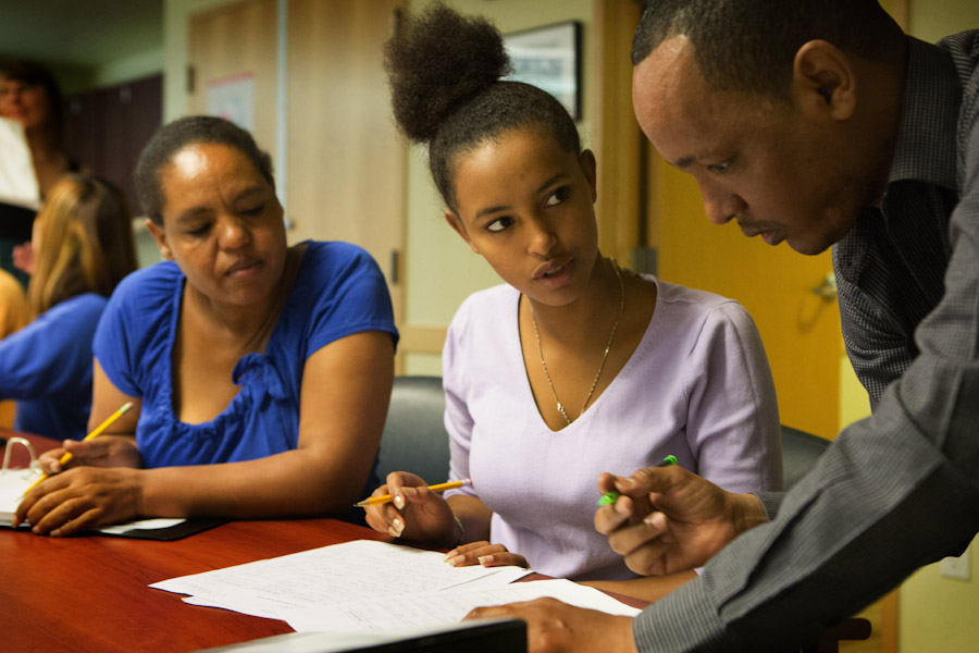 Students Embet Amerdtison (left) and her daughter Elshadaie Zeleke, both from Ethiopia and Netsereab Lewokie from Eritrea in their Ready to Work class, offered by the City Office of Immigrant and Refugee Affairs. (Photo by Ellen Banner / The Seattle Times)