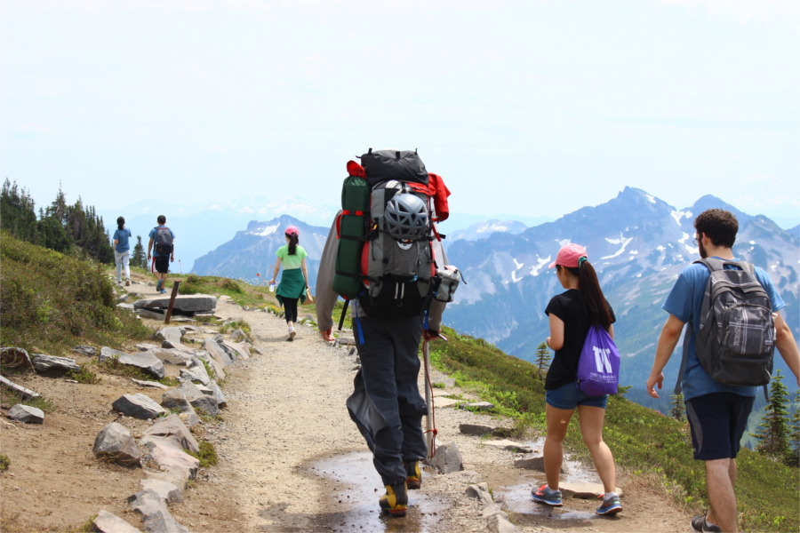 Hiking to Mt. Rainier National Park (Photo by Saroj Karki)