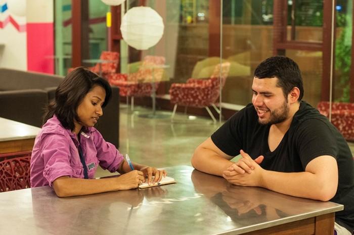 Interviewing Roy Castillo at Alder Hall, University of Washington. Photo by Kathryn Joy.