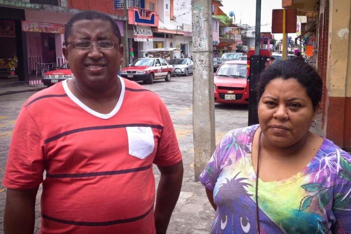 Orlando Flores Lopes and Rufina Jiminez, both Afro-Mexicans in Yanga. Though Veracruz is known for its Afro-Mexican history, you don't come by too many people who look black, and they're often disconnected from any African heritage. (Photo by Reagan Jackson)