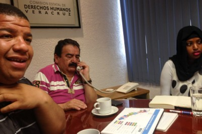 Jordan and Azeb with the President of the Human Rights Commission in Xalapa. (Photo by Reagan Jackson)