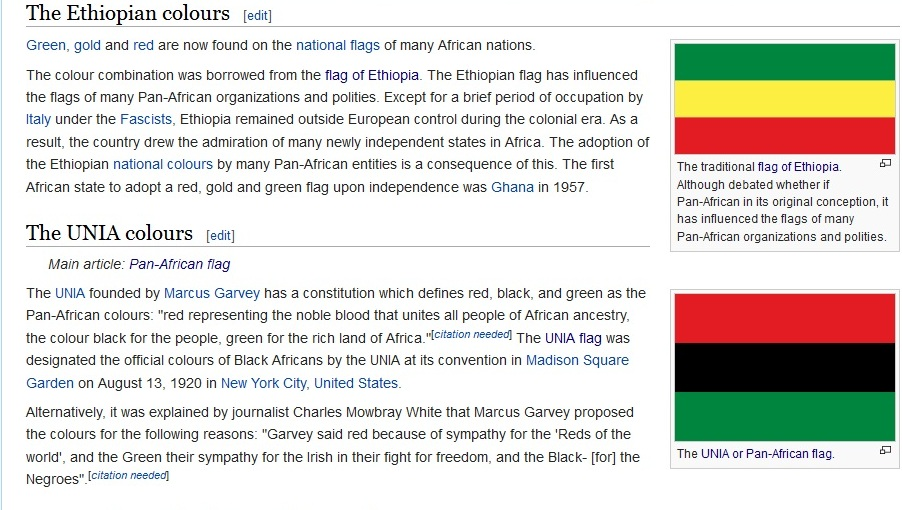 Wikipedia entry describing a contrast of Ethiopian flag vs UNIA flag based Pan-Afrian colors.(Photo credit Wikimedia Commons.
