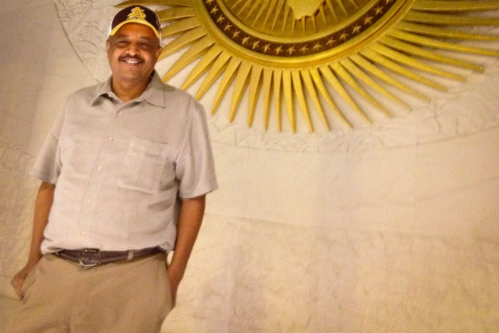 Abel Ghirmai who has lived in the U.S. for more than 20 years, at the African Union headquarters in Addis Ababa, Ethiopia. (Photo courtesy Abel Ghirmai.)