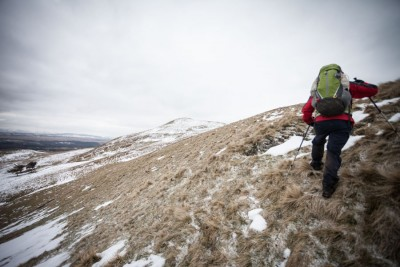 Artist Keith Salmon hikes in the Scottish countryside, a key part of his process for creating impressionistic landscape paintings. The painter is profiled in the upcoming film Glen Rosa, by Seattle filmmaker Dan Thornton. (Courtesy photo)