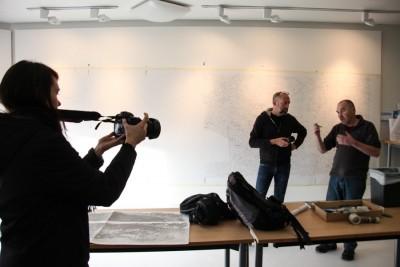 Cindy Apple films while Seattle filmmaker Dan Thornton talks with Scottish artist Keith Salmon, subject of the documentary Glen Rosa. (Courtesy photo)