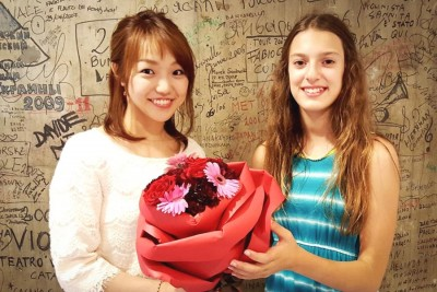 Amy Pottharst and Nana Komo after their goodwill concert in Hiroshima. (Photo by Ed Pottharst)
